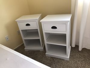Bedside tables & Queen size bed frame & box spring for Sale in Snohomish, WA