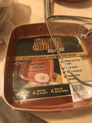"""Kaden Copper Square 9.5""""fry pan with lid.brand New.Never used. for Sale in Chicago, IL"""