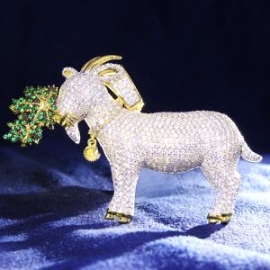Sterling Silver GOAT Icedout Pendant Free Box Chain for Sale in Atlanta, GA