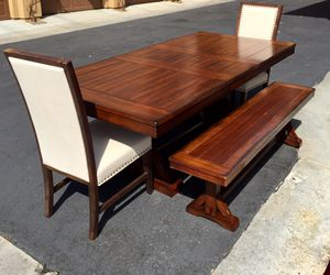 World market farm house extendable Dining table Set 2 benches & 2 chairs retail $2500 for Sale in San Diego, CA