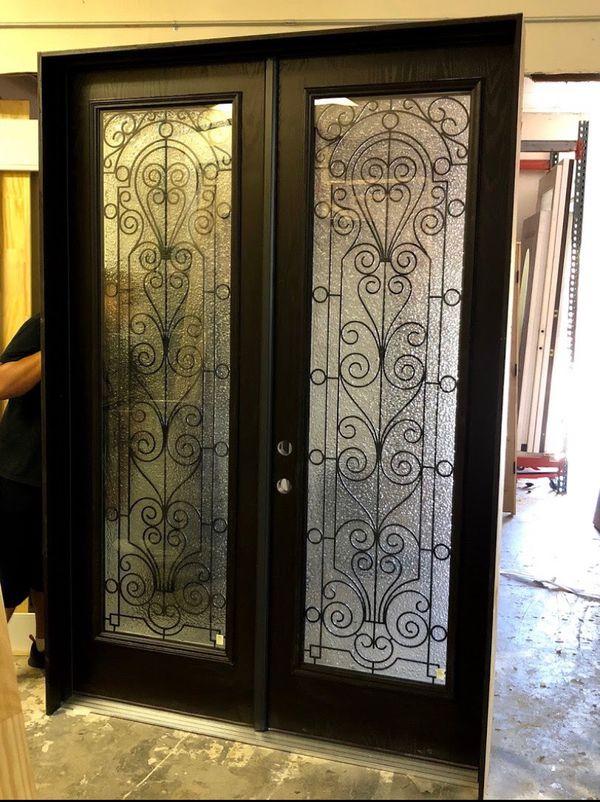 Wrought iron doors entry double doors full glass72x96
