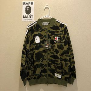 Bape champion jacket camo green (fits like medium/large) for Sale in Los Angeles, CA