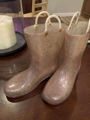 Justice Rose Gold Glitter Rain Boots Size 3 for Sale in Tempe, AZ