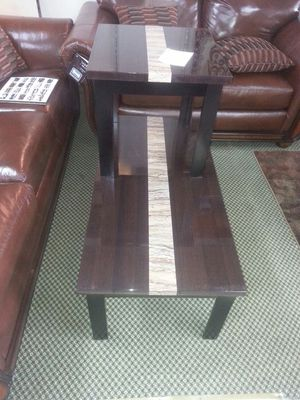 Chocolate with center line marble coffee table and 2 ends for Sale in Dearborn, MI