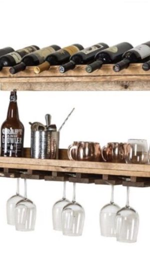 Wall mounted shelves -2 pcs ( 8 wine bottles and 21 glasses) for Sale in NEW PRT RCHY, FL