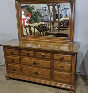 Glass Topped Pecan Vanity Dresser - Delivery Available for Sale in Tacoma, WA