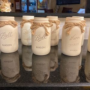 8 Chalk Painted Jars For Wedding Decor4 Light Beige 4 Ivory With Jute String Bows for Sale in Rowlett, TX