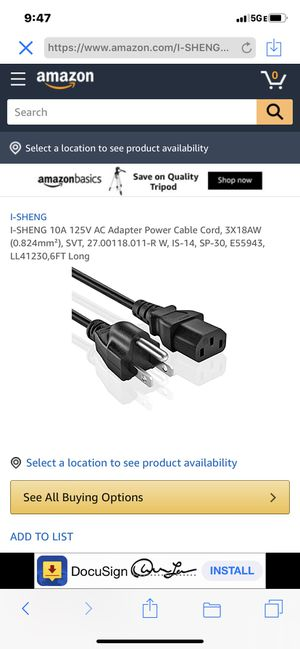 {url removed} 10 ft Standard Computer Power Cord (NEMA 5-15P to IEC 320 C13) - 18 AWG Replacement AC Power Cable for PC or Monitor - 125V, 10A (PXT10 for Sale in Las Vegas, NV