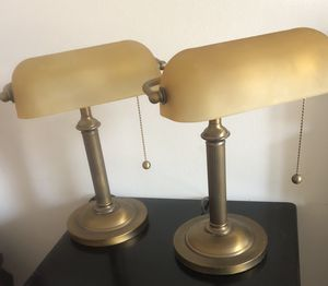 Pair Brass Lawyer's Lamps with Golden Glass Shade for Sale in Reston, VA