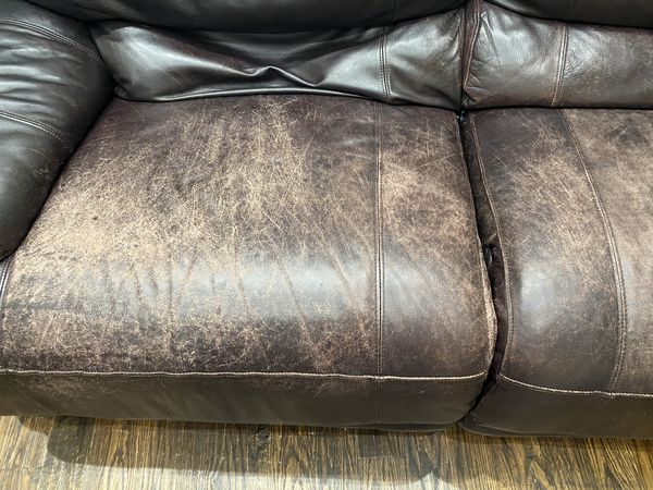 SOLD PENDING PICK UP - Three piece leather sectional sofa with auto reclining