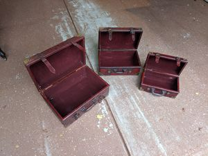 Decorative Suitcases (set of 3) with Straps for Sale in Raleigh, NC