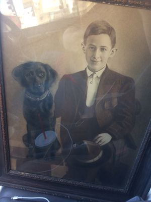 Victorian charcoal drawing of boy and dog for Sale in Riverside, CA