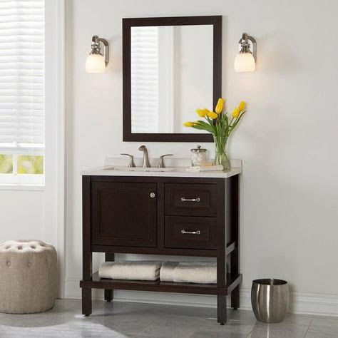 New Home Decorators Collection Kimpson 36 5 In W Vanity In Chocolate With Solid Surface Vanity Top In Titanium With White Basin And Mirror For Sale In Pataskala Oh Offerup