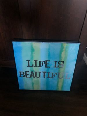 life is beautiful home decor for Sale in Des Plaines, IL