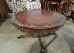 Vintage House of Lindeberg Leather Topped Coffee Table - Delivery Available for Sale in Tacoma, WA