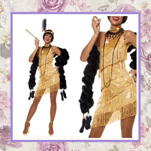 5PC: FRINGE DRESS FLAPPER MIDI MINI VINTAGE SET GOLD BOA REAL CIGARETTE EXTENDER FLOWER SHOE HEELS COSTUME HALLOWEEN BOHO CHIC DESIGNER FEATHER BLACK for Sale in Las Vegas, NV