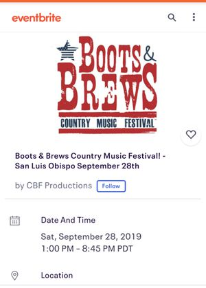 BOOTS AND BREWS TICKETS X2 for Sale in San Luis Obispo, CA