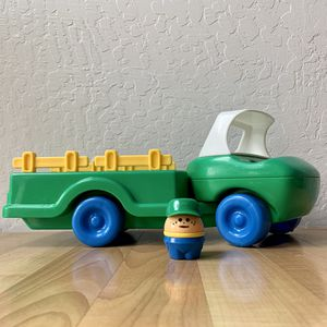 Vintage Little Tikes Green/Blue/White Farm Hauler Truck Vehicle Toy With Driver Toddle Tot Chunky People Figure for Sale in Elizabethtown, PA