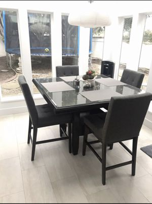 5 piece counter height solid wood kitchen table set for Sale in San Clemente, CA