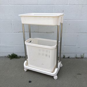 New White Laundry Rolling Cart Stainless Steel With Basket Bathroom Storage Rack For Home Bathroom for Sale in El Monte, CA