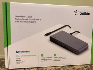 NEW Belkin Thunderbolt 3 Dock Pro w/ 2.6ft Thunderbolt 3 Cable (Thunderbolt Dock for MacOS and Windows) Dual 4K @60Hz, 40Gbps Transfer Speeds, 85W Up for Sale in Triangle, VA