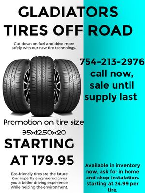 Gladiators tires 35 x 12.50 x 20 for Sale in Davie, FL