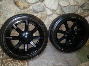"""22"""" BLACK KMC KM651 RIMS AND TIRES - 285/45 R22 for Sale in Phillips Ranch, CA"""