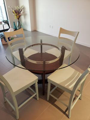 Glass Dining Table and 4 solid wood chairs for Sale in Miami, FL