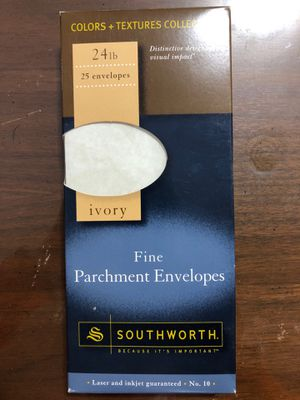 Envelopes, 24lb ivory fine parchment envelopes for Sale in Appleton, WI