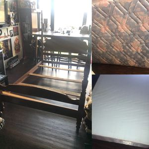Full size wood antique bed frame WITH mattress and box spring for Sale in Alexandria, VA
