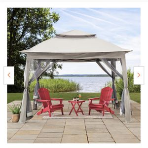 New Ayon 11 ft. x 11 ft. Gray Pop Up Portable Steel Gazebo with Mosquito Netting for Sale in Hacienda Heights, CA