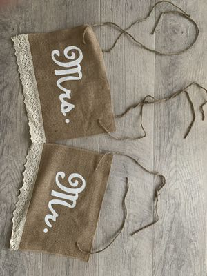 Rustic Burlap mr and mrs sign for Sale in Silver Spring, MD