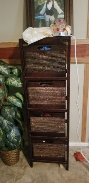 Wooden shelf with 4 wicker shelves they are narrow but deep for Sale in Prattville, AL