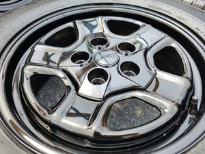 """16"""" OEM Jeep Wheels with Tires Powdoreer Coated in """"Mirror Black"""" for Sale in Arvada, CO"""