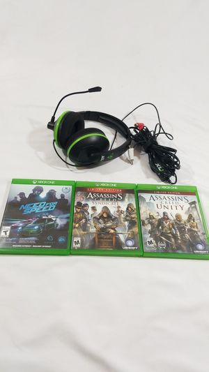 Lot of 3 xbox one video games with Turtle beach XL1 Earforce video gaming headphones for Sale in Winter Springs, FL