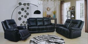 3pc Black leather. Reclining set for Sale in South Hill, WA