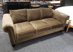 Nice Microfiber Couch with Nails Head Accents - Delivery Available for Sale in Tacoma, WA