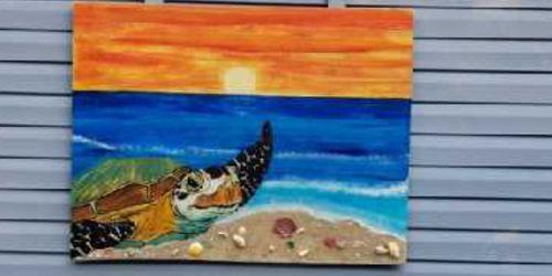 Beautiful sea turtle on the beach at sunset nautical fishing boat patio tiki bar marine art for Sale in Miami,  FL
