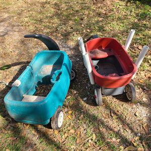 2 Kids Wagons( 1 Has Fishing Rod Holders) for Sale in Houston, TX