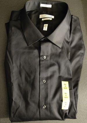 Shirt-Men's NWT Van Heusen Big-Fit Lux Sateen Black Dress Shirt size 19-35 for Sale in TN OF TONA, NY