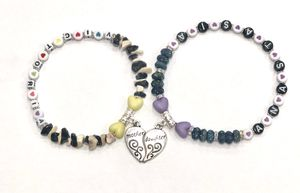💔 One of a Kind Set of 2 Handcrafted Name Saying Personalized Girls Teens Stretchy Anklets Bracelets Mother Daughter Heart Charms 💕 for Sale in Las Vegas, NV