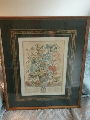 Floral picture in brown frame for Sale in Jacksonville, FL