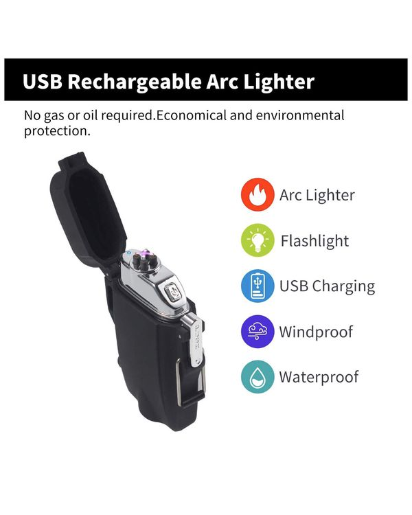 Waterproof Lighter, USB Plasma Electric Lighter Waterproof with Flashlight Flameless Lighter Windproof Arc Lighter for Outdoor Camping Hiking 2i