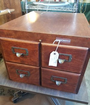 4 Drawer Solid Wood Library Card File for Sale in Westmont, IL
