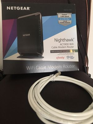 NETGEAR AC1900 (24x8) WiFi Cable Modem Router C7000, DOCSIS 3.0   Certified for XFINITY by Comcast, Spectrum, Cox, and more for Sale in Irvine, CA