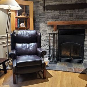 Fine leather wingback chair. for Sale in Snohomish, WA