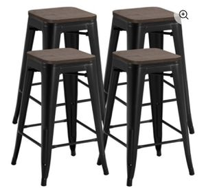 Yaheetech 26 '' Set of 4 barstools Counter Height Metal Bar Stools, Indoor Outdoor Stackable Bartool Industrial with Wood Seat 331Lb, Black for Sale in Riverton, NJ