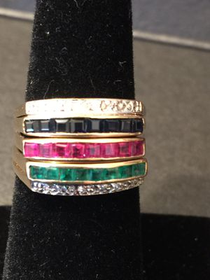 10k Yellow Gold Multi Gem Diamond Stacked Band Ring. ( 4 July Special ) for Sale in Santa Ana, CA