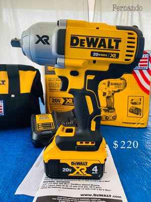 New DeWalt 20-Volt MAX XR Cordless Brushless High Torque 1/2 in. Impact Wrench w/ Detent Pin Anvil,Battery 4.0Ah,Charger & Tool Bag. $220 FIRM. for Sale in Monterey Park, CA