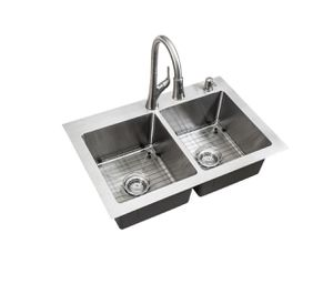 All-in-One Dual Mount Stainless Steel 33 in. 2-Hole 50/50 Double Bowl Kitchen Sink in Brushed Finish for Sale in Fort Lauderdale, FL